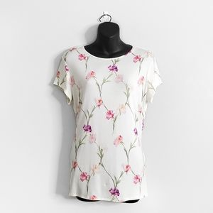 TED BAKER LONDON White Floral Tee Shirt